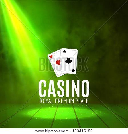 Shining Casino Banner Poster. Show spotlight casino design with cards. Casino poster.