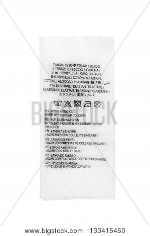 Fabric composition and washing instructions label on white background
