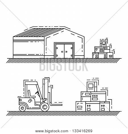 The warehouse work with loading and unloading of cargo. Warehouse complex style linear outline. Forklift works in a warehouse.