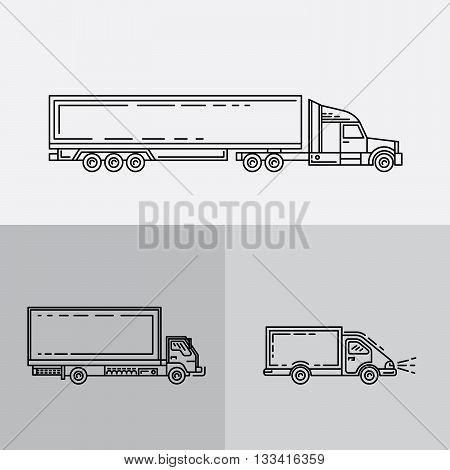 Transportation of goods shipping freight transport. Transport of containers on trucks. A set of trucks
