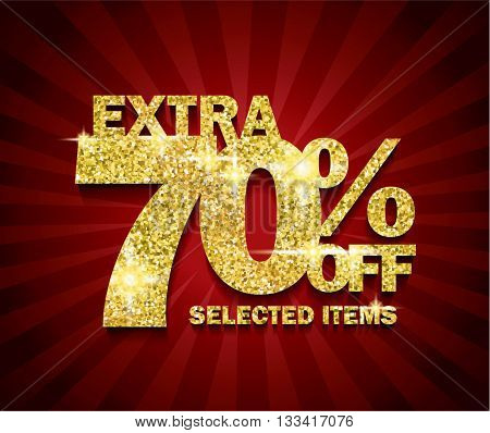 Golden Sale concept vector banner. sale layout design. 70% off, rich and fashion vector illustration