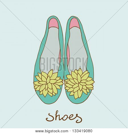 Womens shoes. Ballerinas on a white background.