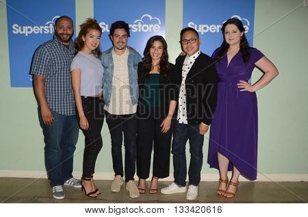LOS ANGELES - JUN 7:  Colton Dunn, Nichole Bloom, Ben Feldman, America Ferrera, Nico Santos, Lauren Ash at the FYC Panel For Superstore at the UCB Theater on June 7, 2016 in Los Angeles, CA