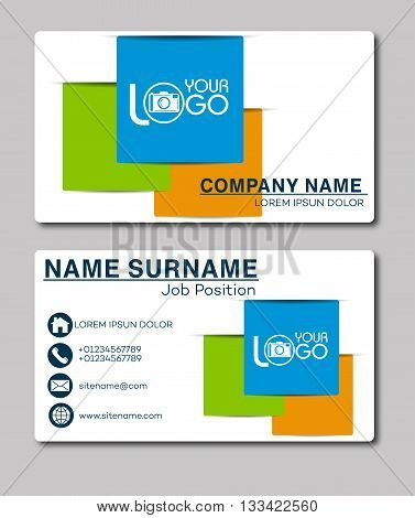 Business card template. Vector Illustration. Stationery Design