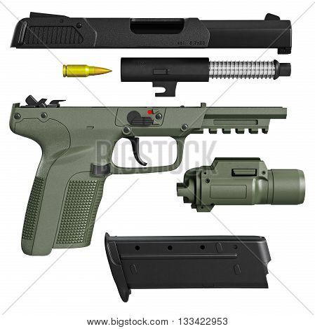 Gun disassembled military, police with flashlight. 3D graphic
