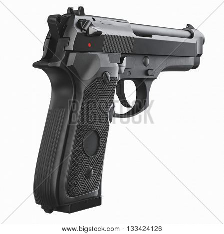 Gun metallic police, military, black on white background isolated, back view. 3D graphic