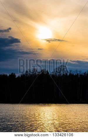 Sunny spring evening landscape in southern Finland