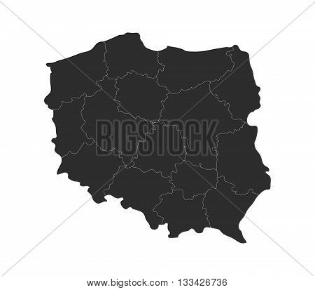 map of Poland with regions illustrated on a white background