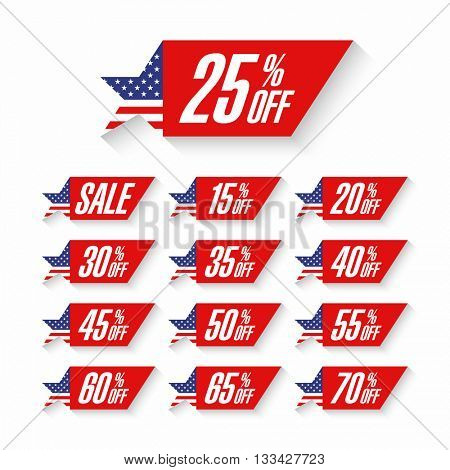 Independence Day Sale discount labels vector illustration