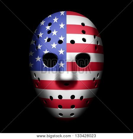 Vintage Goalie Mask with USA flag vector illustration