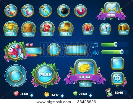 Set of different items. Vector background illustration screen to the computer game Atlantis ruins. Background image to create original video or web games graphic design screen savers. poster