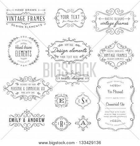 Rustic Frames Set - Rustic vintage frames and monograms set