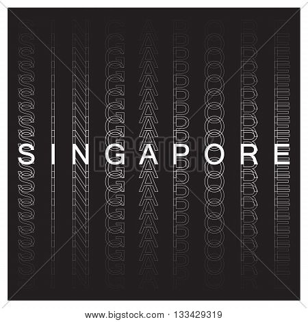 Singapore poster design. Singapore typography, t-shirt graphics. Vector illustration.