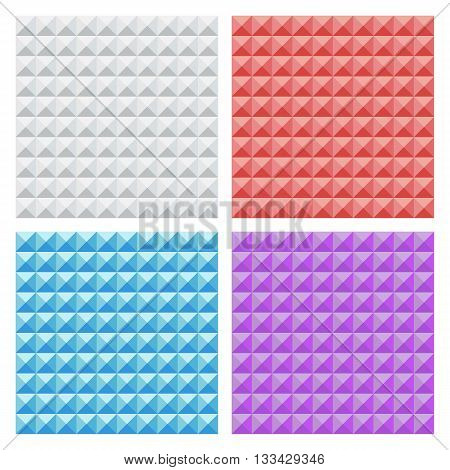 Set of color seamless triangle patterns. Abstract backgrounds. Vector illustration.
