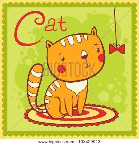 Illustrated alphabet letter C and cat. Animals.