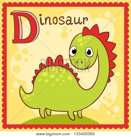 Illustrated alphabet letter D and dinosaur. Animals.