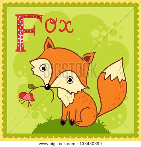Illustrated alphabet letter F and fox. Animals.