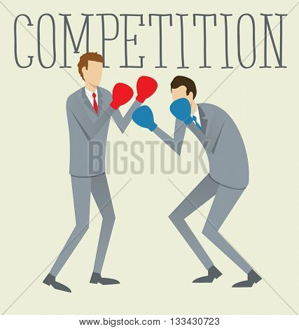 Vector flat business concept competition. Two boxing business mans