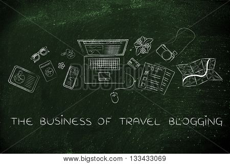 Travel & Lifestyle Blogger Desk With Laptop, Business Of Travel Blogging