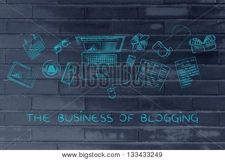 Business & Finance Blogger Desk With Laptop, The Business Of Blogging