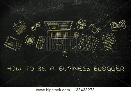 Business & Finance Blogger Desk With Laptop, How To Be A Blogger