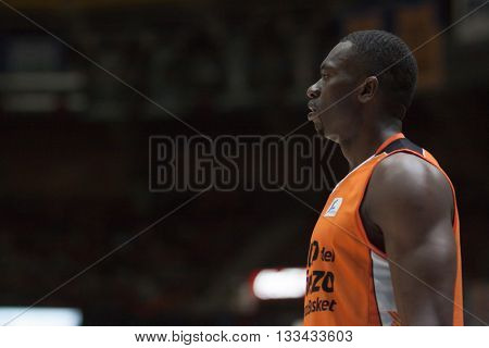 VALENCIA, SPAIN - JUNE 7th: Sato during 3rd playoff match between Valencia Basket and Real Madrid at Fonteta Stadium on June 7, 2016 in Valencia, Spain