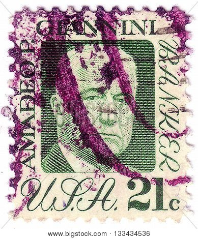 United States Of America - Circa 1973: A Stamp Printed In The Usa Shows Amadeo P. Giannini, Founder