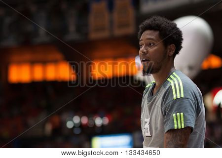 VALENCIA, SPAIN - JUNE 7th: Thompkins during 3rd playoff match between Valencia Basket and Real Madrid at Fonteta Stadium on June 7, 2016 in Valencia, Spain