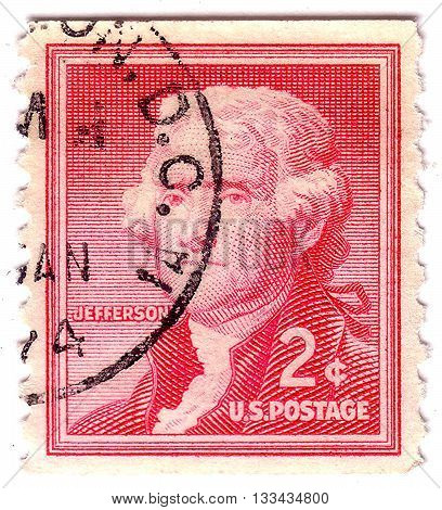 Usa - Circa 1954: A Postage Stamp Printed In Usa, Shows Portrait 3Th President Of The United States,