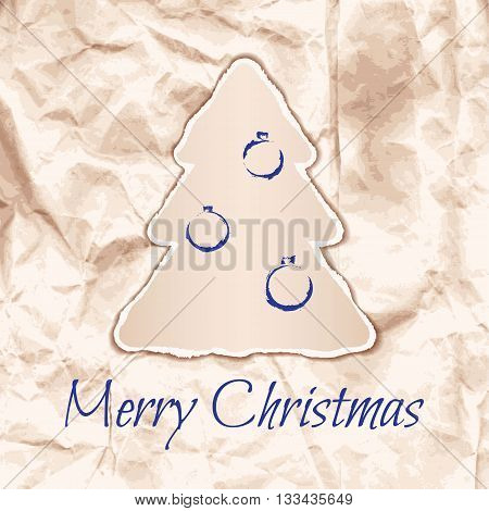 Design of Christmas card in laconic Ecostyle. Vector illustration
