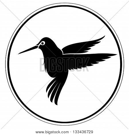 Artistic vector humming bird on round frame background. Clean simple good for logo design