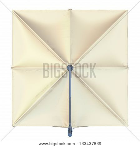 Square beach umbrella for sun protection, top view. 3D graphic