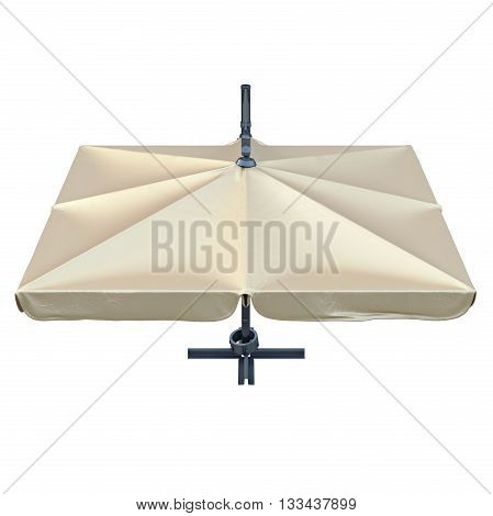 Square patio umbrella for sun protection, top view. 3D graphic