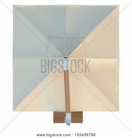 Beach umbrella sun protection, top view. 3D graphic