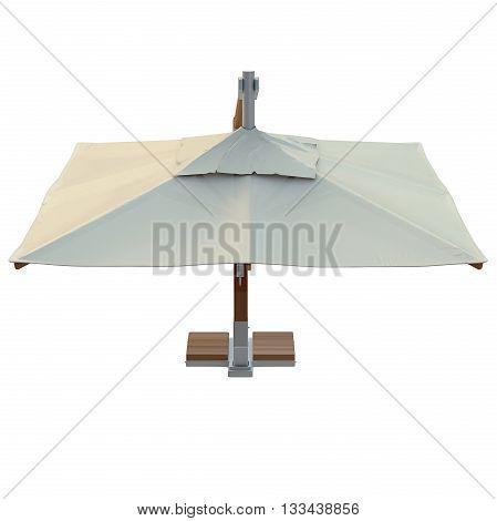 Patio umbrella square for rest, top view. 3D graphic