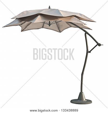 Patio open beach umbrella, sun protection. 3D graphic