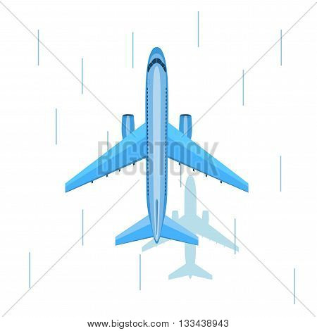 Airplane flies in the sky over snow. View from above. Airliner. View from above. Blue airplane. Fast jet poster