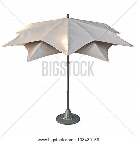 Beach umbrella sun protection, back view. 3D graphic