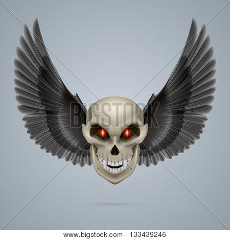 Evil looking mutant skull with black wings