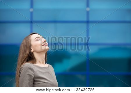 Portrait Of Business Woman Relaxing And Feeling Happy. Copy Space