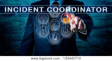 Manager is pressing INCIDENT COORDINATOR on a virtual screen with forensic tool icons. Business metaphor cyber security and information technology concept for a person managing an incident response.