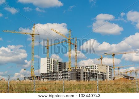 Many high rise buildings under a construction