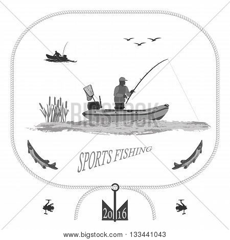 A fisherman in a boat fishing, silhouette. A rubber boat, near spinning and landing net. fish called Pike. Gull and bulrush   totally vector illustration