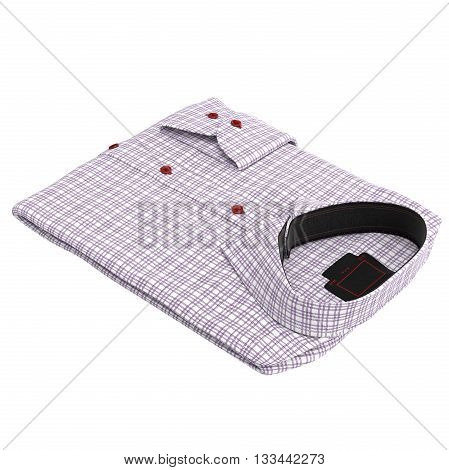 Classic folded checkered shirt pink. 3D graphic