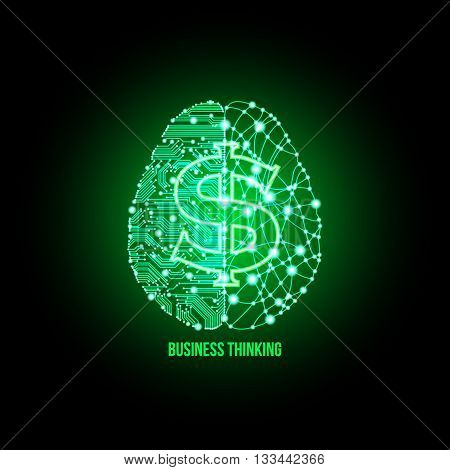 Cold analysis and bursting creativity paired together in financial thinking concept. Analytical brain. Creative brain. Analytical thinking Creative thinking. Financial thinking. Business thinking.