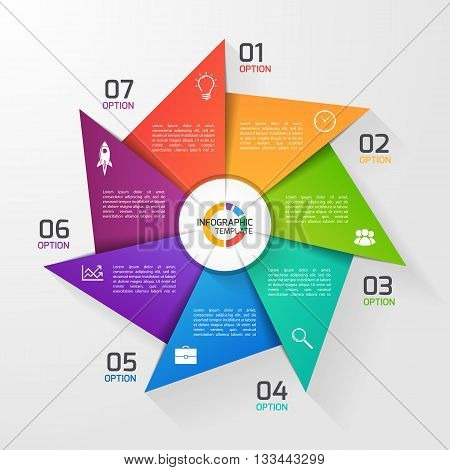 Windmill style circle infographic template for graphs charts diagrams. Business education and industry concept with 7 options parts steps processes.