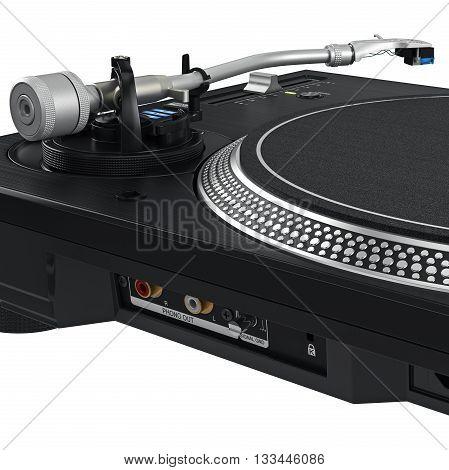 Black vinyl needle dj turntable with chrome elements. 3D graphic, close view. 3D graphic