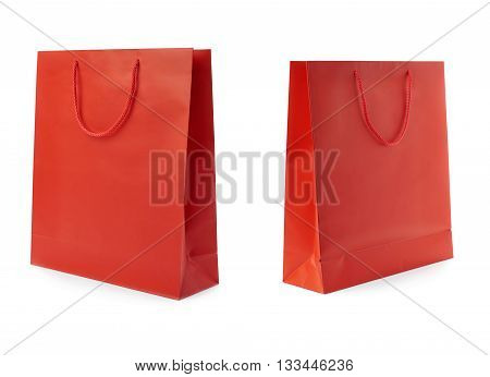 Set of Red Shopping bag isolated over the white background