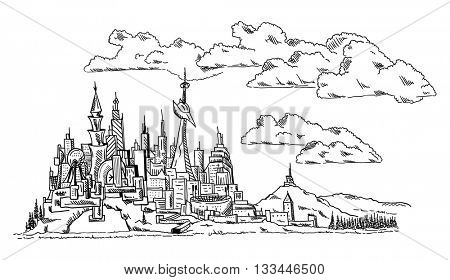 vector -modern Town- abstract - isolated on background