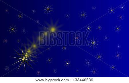 falling star , blue background with starsstarry sky